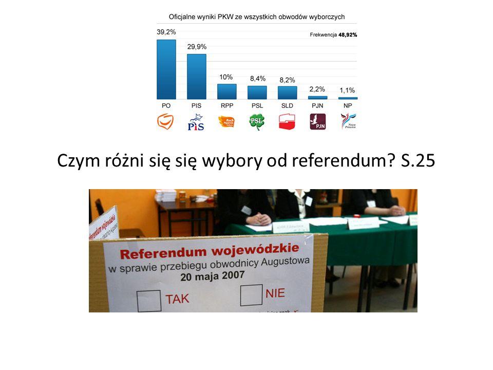 Czym różni się się wybory od referendum S.25