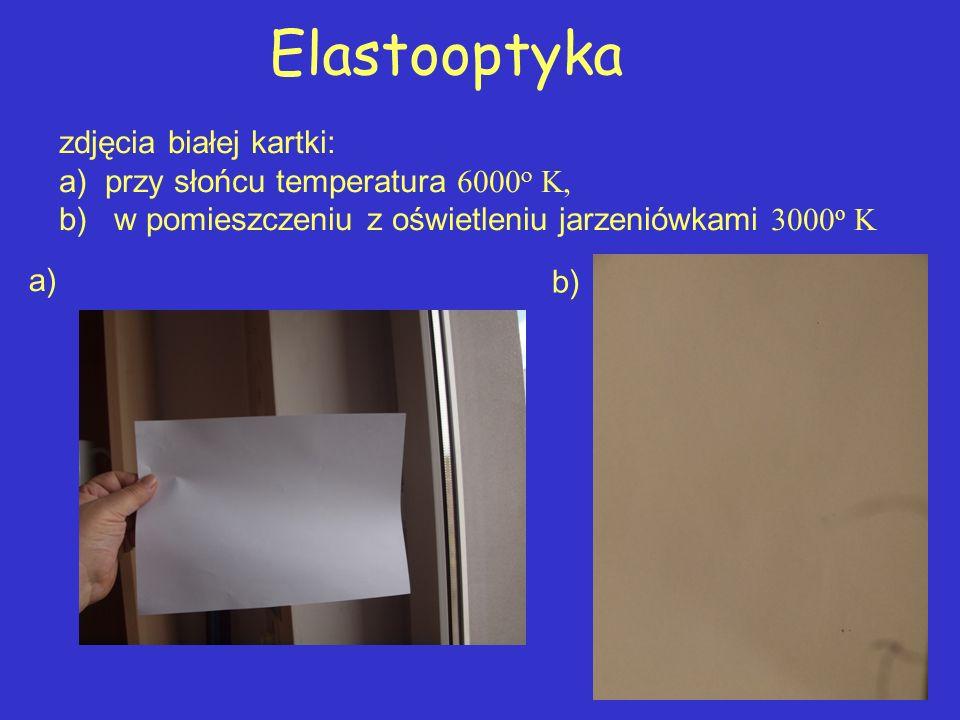 Elastooptyka zdjęcia białej kartki:
