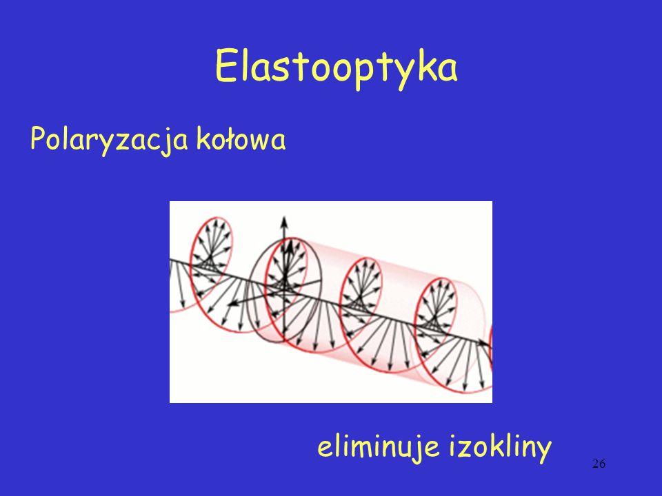 Elastooptyka Polaryzacja kołowa eliminuje izokliny 26
