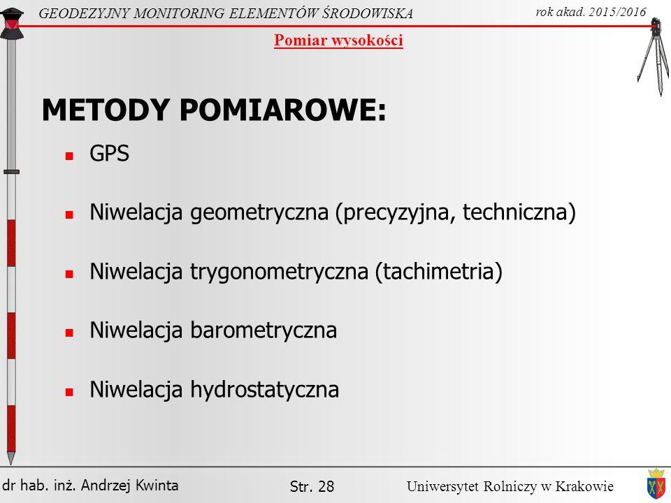 METODY POMIAROWE: GPS Niwelacja geometryczna (precyzyjna, techniczna)