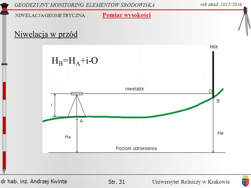 HB=HA+i-O Niwelacja w przód Pomiar wysokości