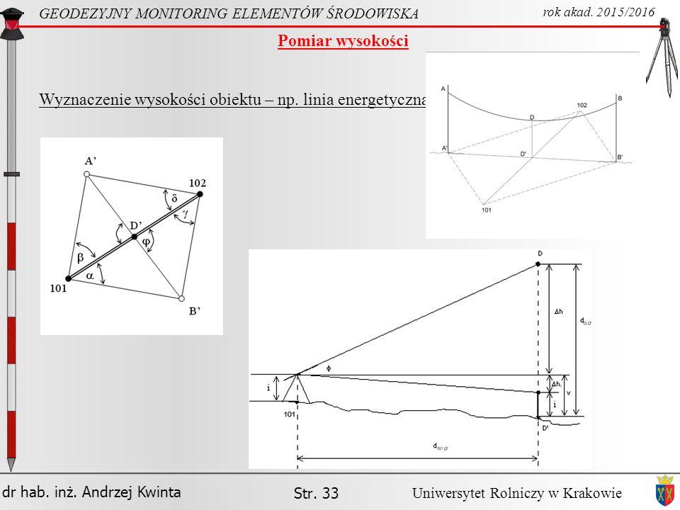 Wyznaczenie wysokości obiektu – np. linia energetyczna