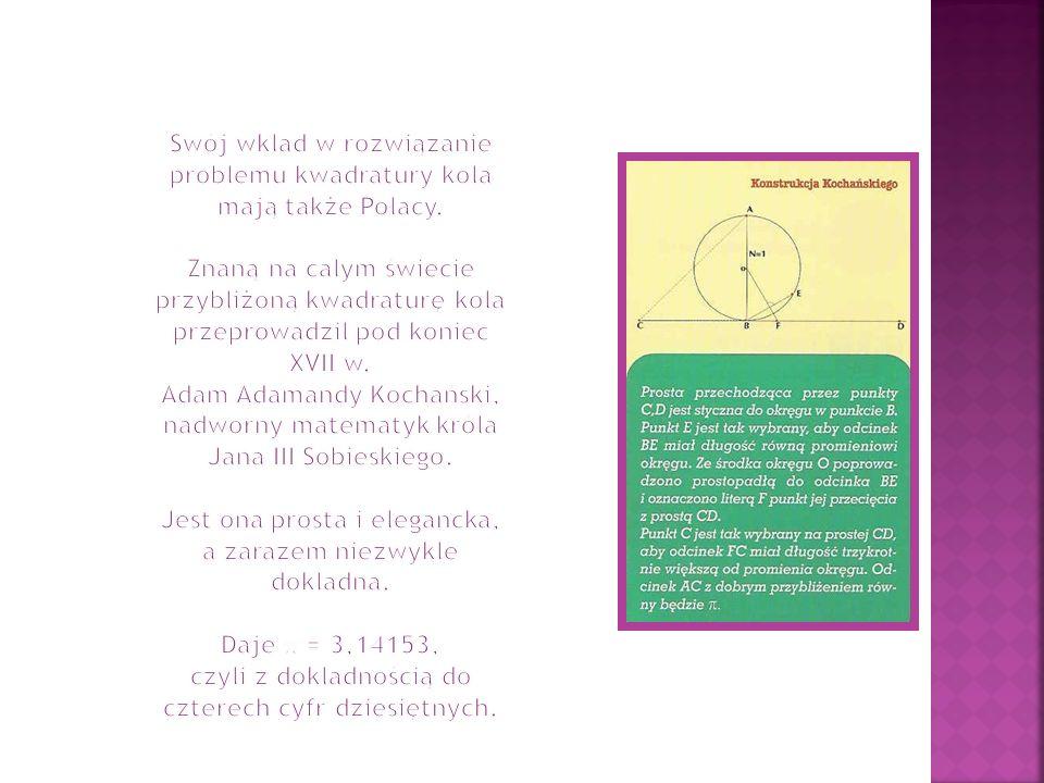 Swój wkład w rozwiązanie problemu kwadratury koła mają także Polacy.