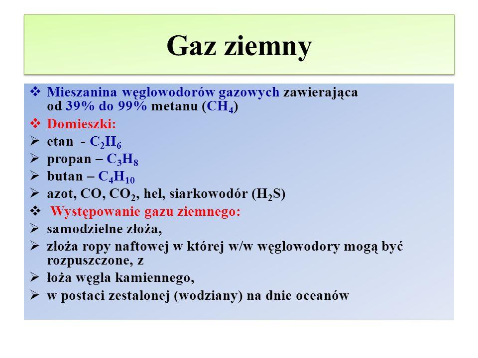 Gaz ziemny Mieszanina węglowodorów gazowych zawierająca od 39% do 99% metanu (CH4) Domieszki: etan - C2H6.