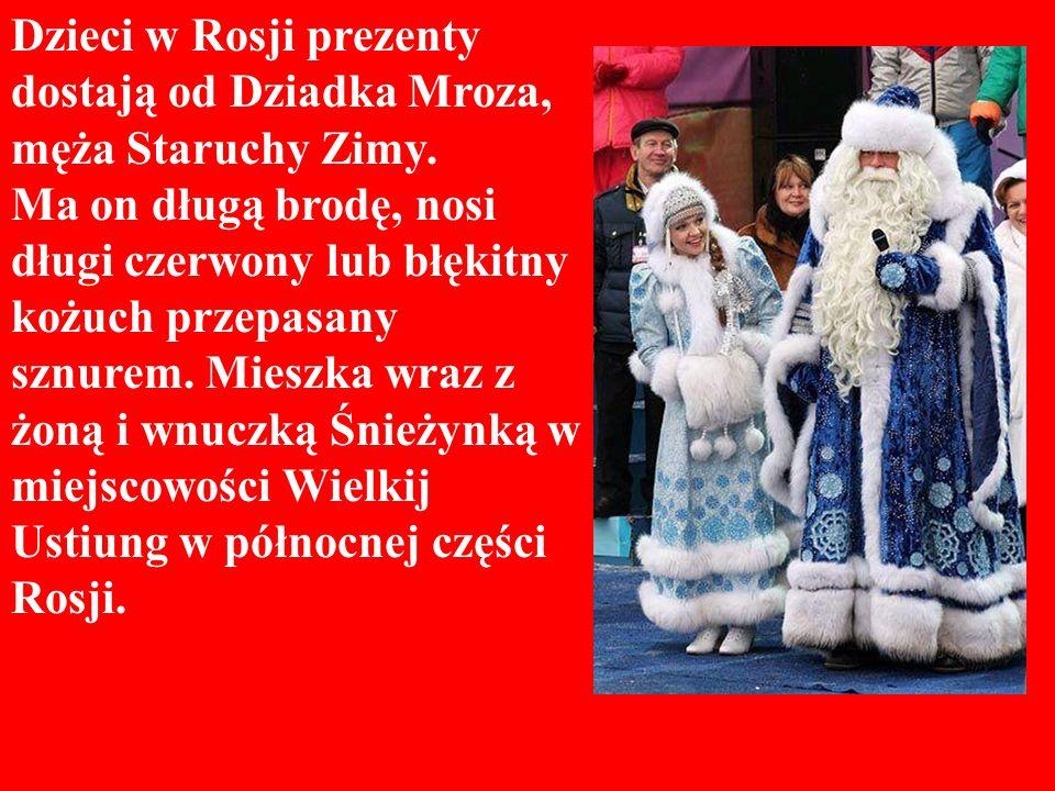 Dzieci w Rosji prezenty dostają od Dziadka Mroza, męża Staruchy Zimy.
