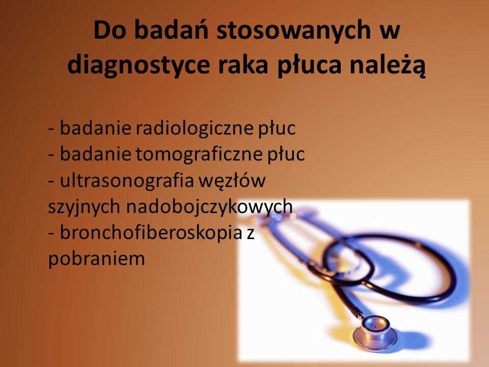 Do badań stosowanych w diagnostyce raka płuca należą