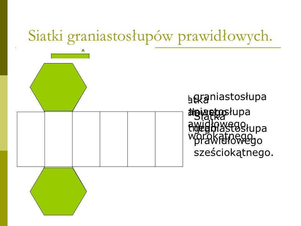 Siatki graniastosłupów prawidłowych.