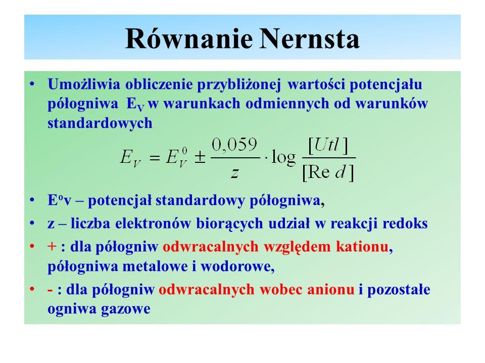Równanie Nernsta Umożliwia obliczenie przybliżonej wartości potencjału półogniwa EV w warunkach odmiennych od warunków standardowych.