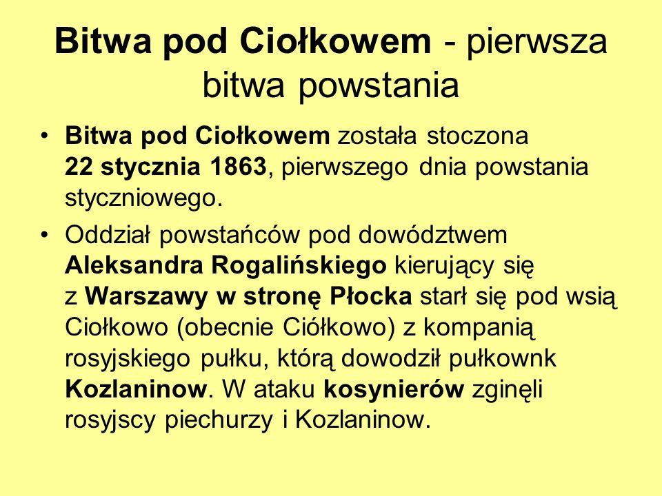 Bitwa pod Ciołkowem - pierwsza bitwa powstania