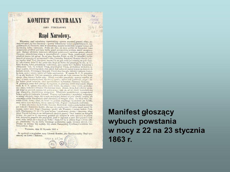 Manifest głoszący wybuch powstania w nocy z 22 na 23 stycznia 1863 r.