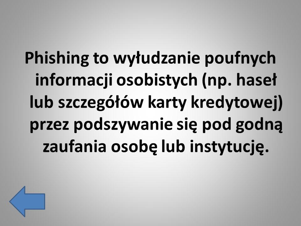 Phishing to wyłudzanie poufnych informacji osobistych (np