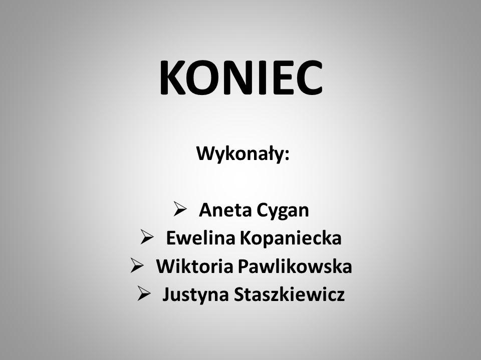 KONIEC Wykonały: Aneta Cygan Ewelina Kopaniecka Wiktoria Pawlikowska