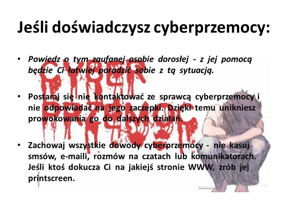 Jeśli doświadczysz cyberprzemocy: