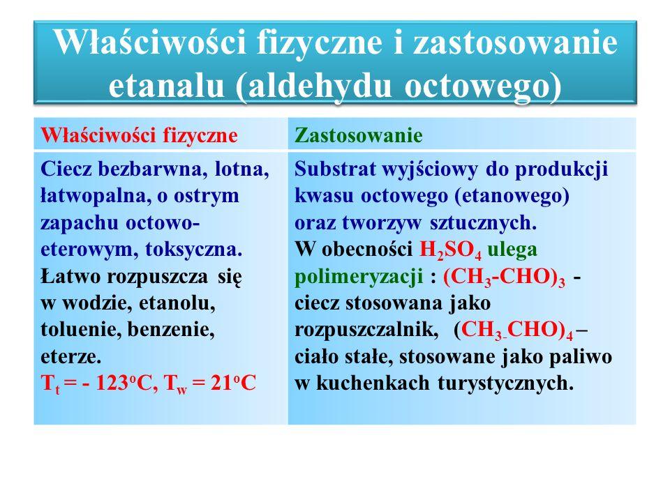 Właściwości fizyczne i zastosowanie etanalu (aldehydu octowego)