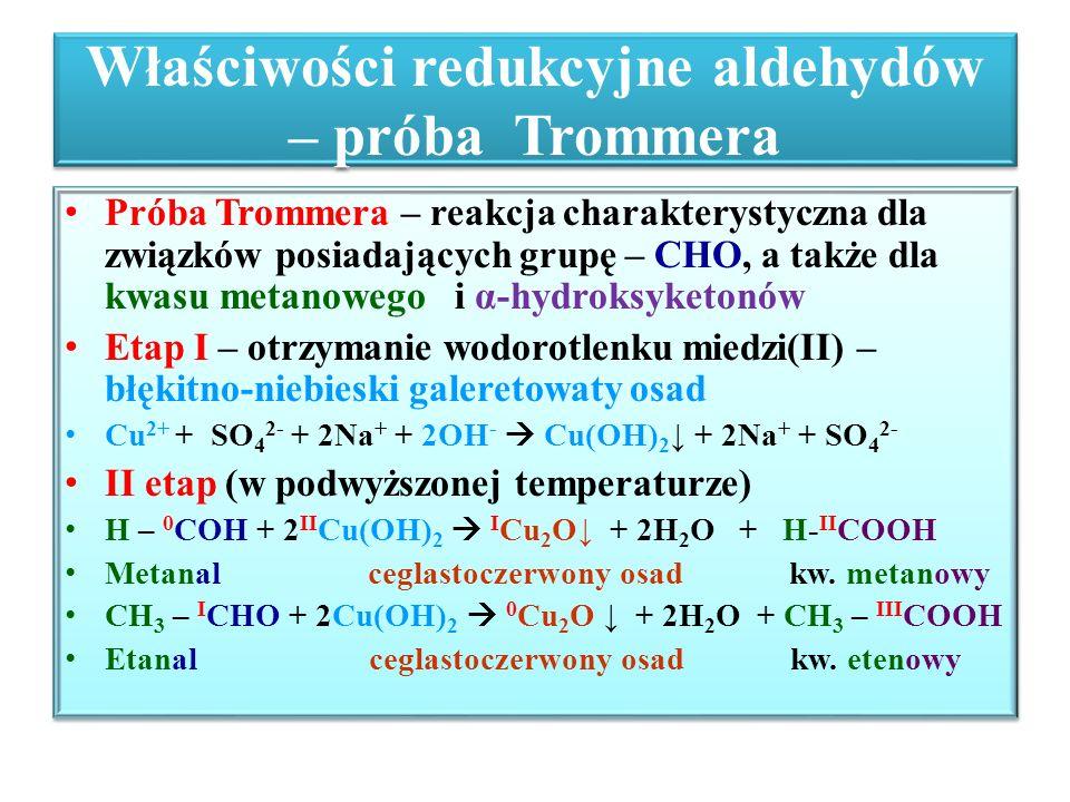 Właściwości redukcyjne aldehydów – próba Trommera