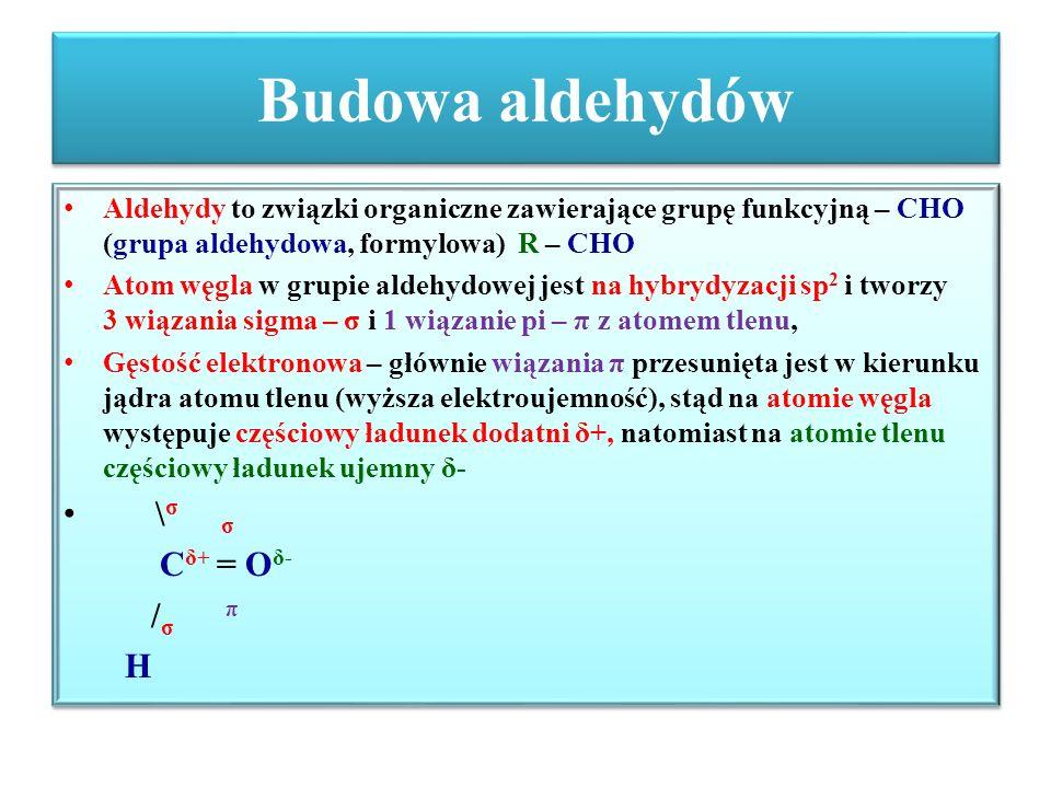 Budowa aldehydów \σ σ Cδ+ = Oδ- /σ π H