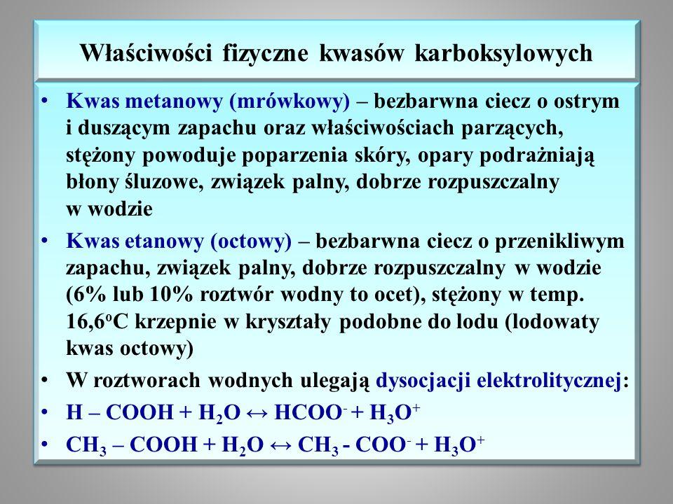 Właściwości fizyczne kwasów karboksylowych