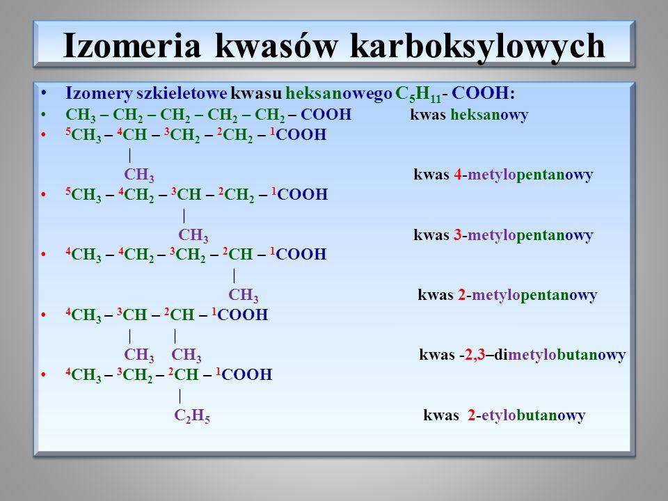 Izomeria kwasów karboksylowych