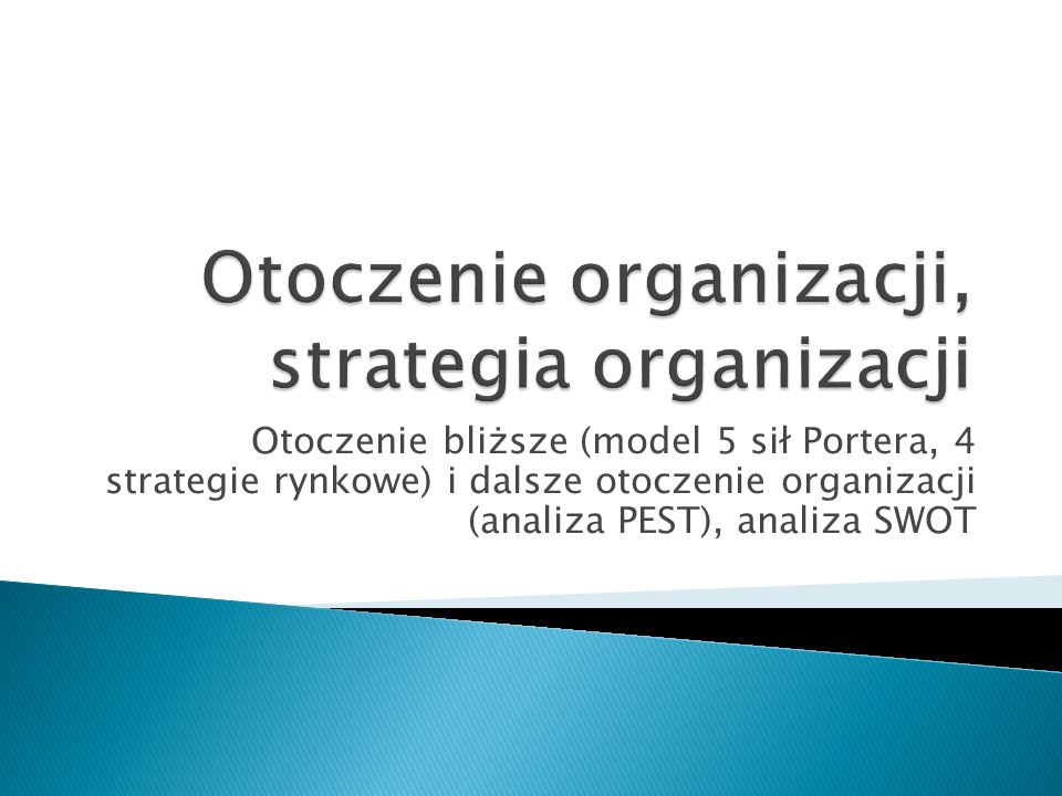 Otoczenie organizacji, strategia organizacji