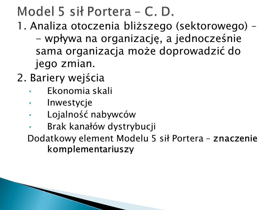 Model 5 sił Portera – C. D.