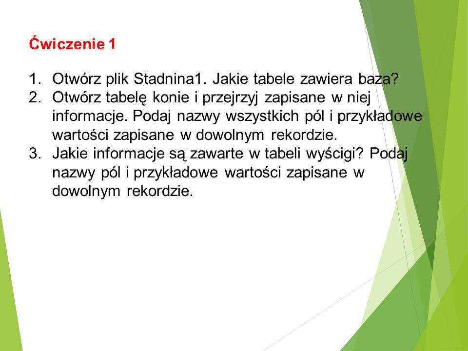Ćwiczenie 1 Otwórz plik Stadnina1. Jakie tabele zawiera baza