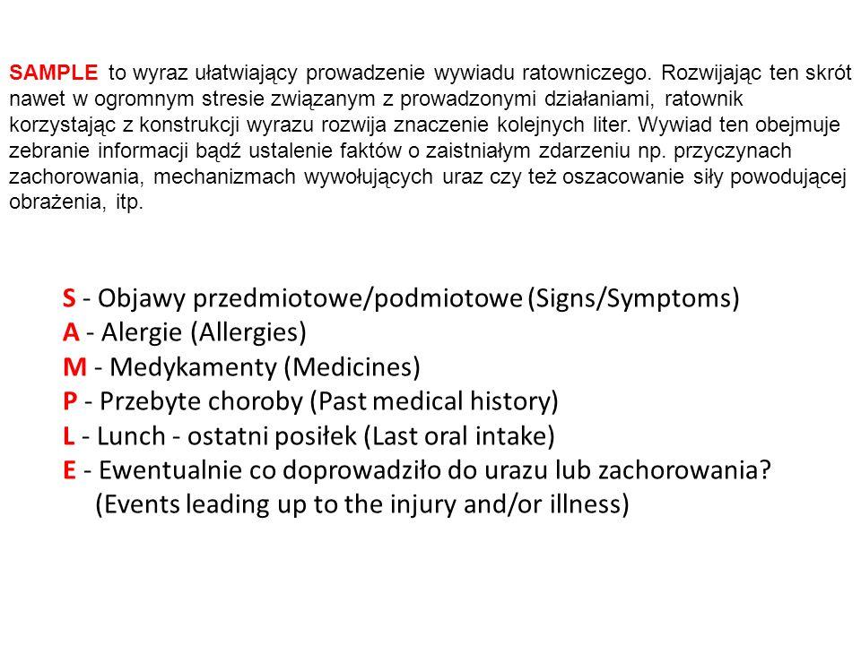 S - Objawy przedmiotowe/podmiotowe (Signs/Symptoms)