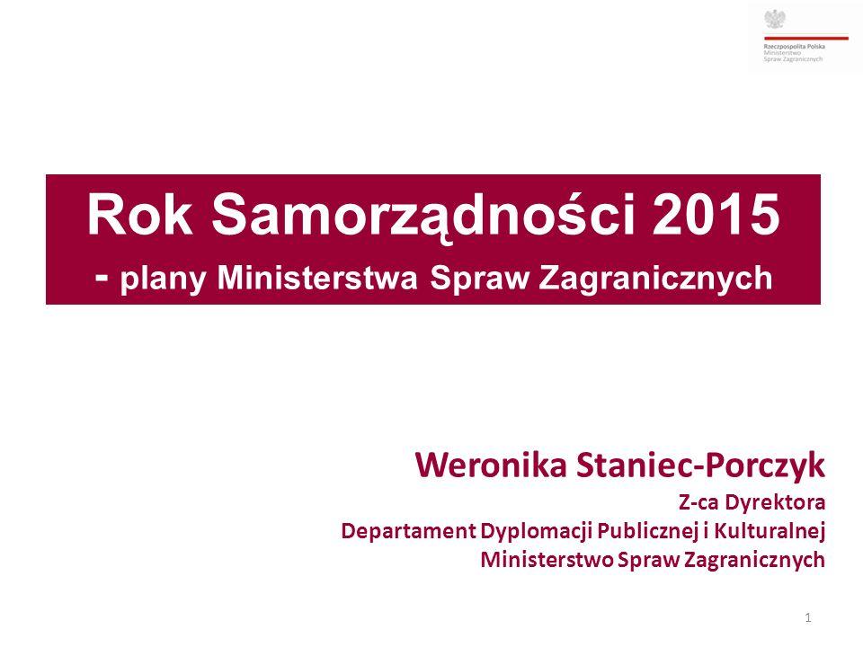 Rok Samorządności 2015 - plany Ministerstwa Spraw Zagranicznych