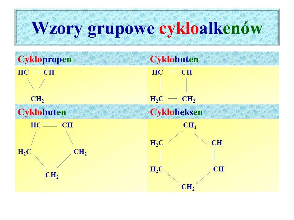 Wzory grupowe cykloalkenów