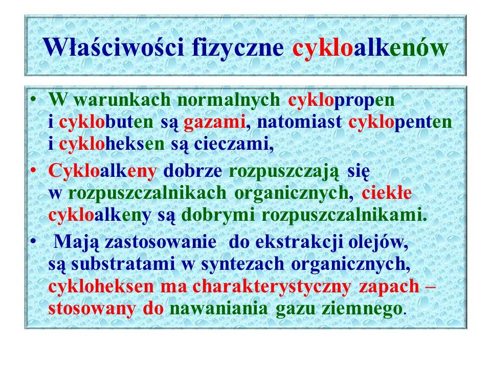 Właściwości fizyczne cykloalkenów