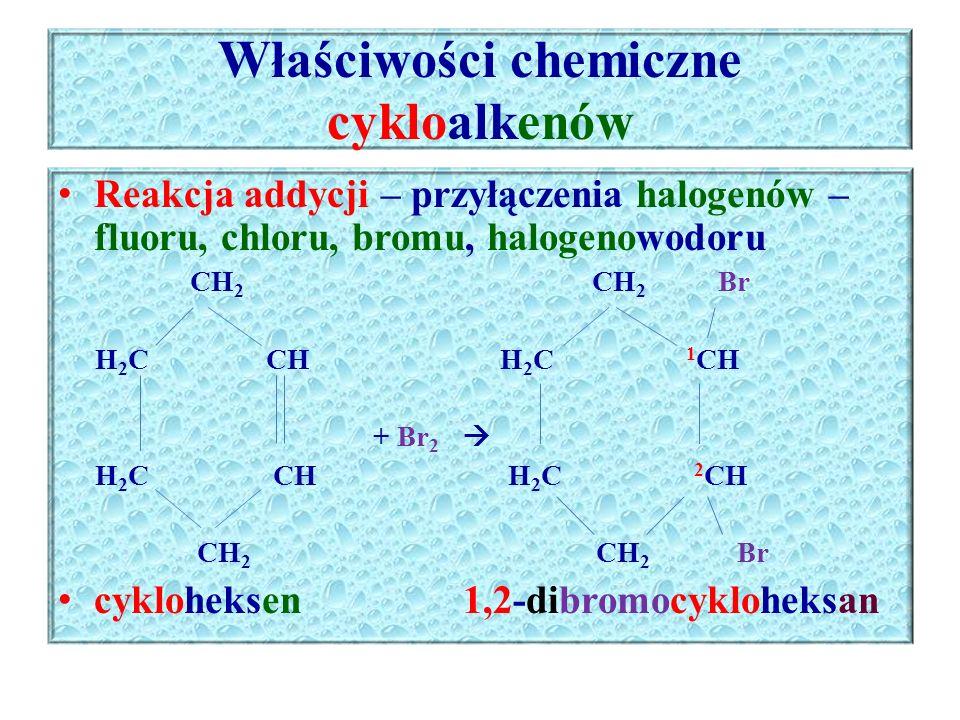 Właściwości chemiczne cykloalkenów