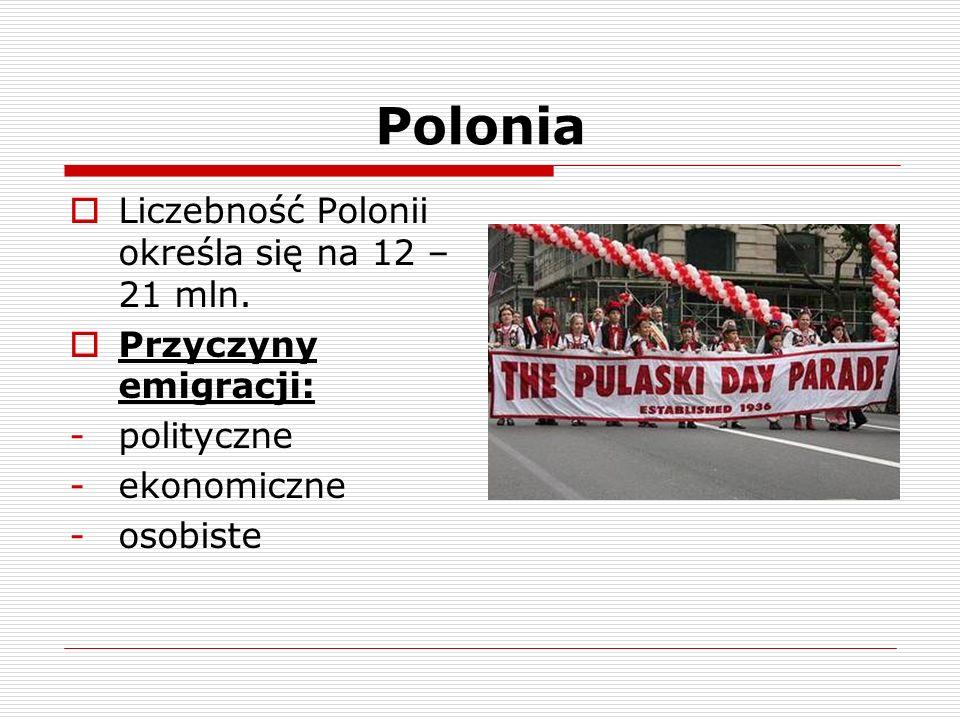 Polonia Liczebność Polonii określa się na 12 – 21 mln.