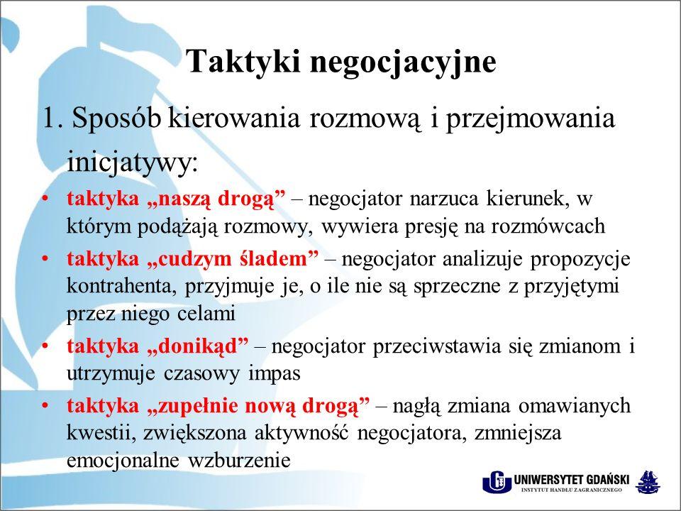 Taktyki negocjacyjne 1. Sposób kierowania rozmową i przejmowania