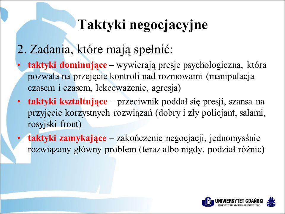 Taktyki negocjacyjne 2. Zadania, które mają spełnić: