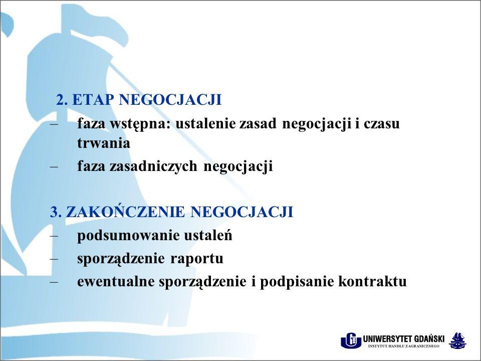 2. ETAP NEGOCJACJI faza wstępna: ustalenie zasad negocjacji i czasu trwania. faza zasadniczych negocjacji.