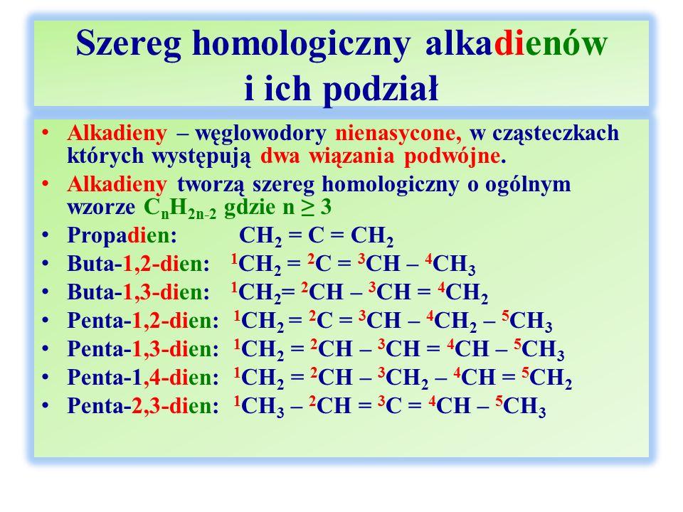 Szereg homologiczny alkadienów i ich podział