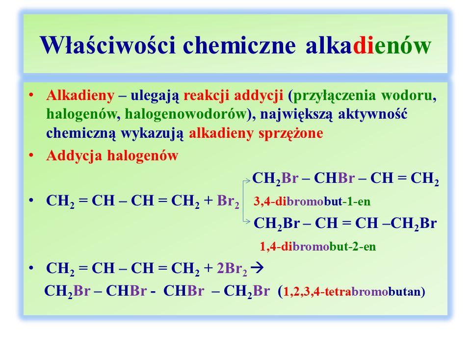 Właściwości chemiczne alkadienów