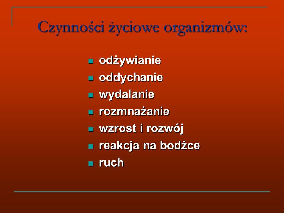Czynności życiowe organizmów: