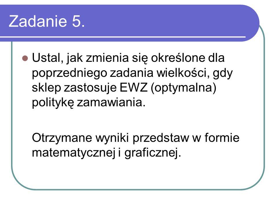 Zadanie 5. Ustal, jak zmienia się określone dla poprzedniego zadania wielkości, gdy sklep zastosuje EWZ (optymalna) politykę zamawiania.