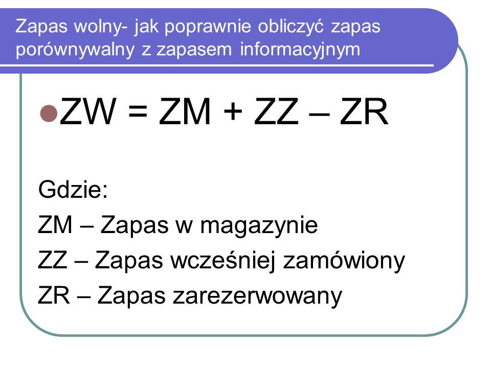 ZW = ZM + ZZ – ZR Gdzie: ZM – Zapas w magazynie