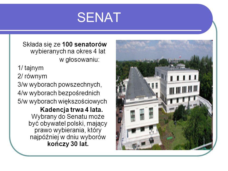Składa się ze 100 senatorów wybieranych na okres 4 lat