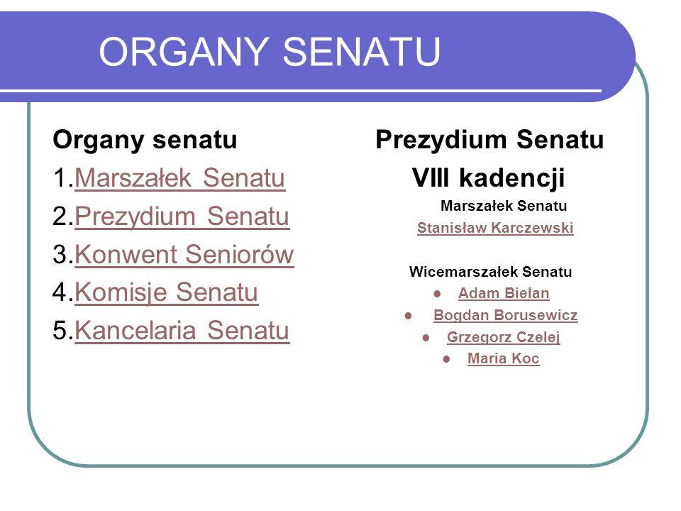 ORGANY SENATU Organy senatu 1.Marszałek Senatu 2.Prezydium Senatu
