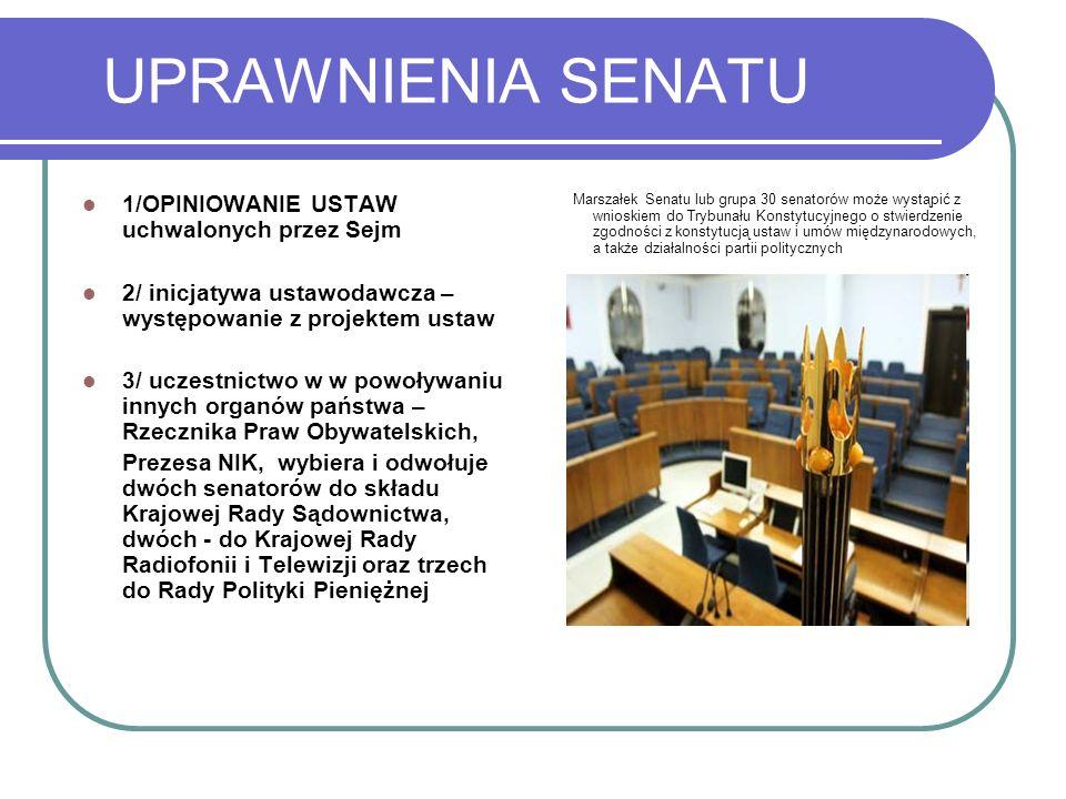 UPRAWNIENIA SENATU 1/OPINIOWANIE USTAW uchwalonych przez Sejm