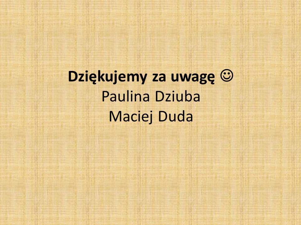 Dziękujemy za uwagę  Paulina Dziuba Maciej Duda