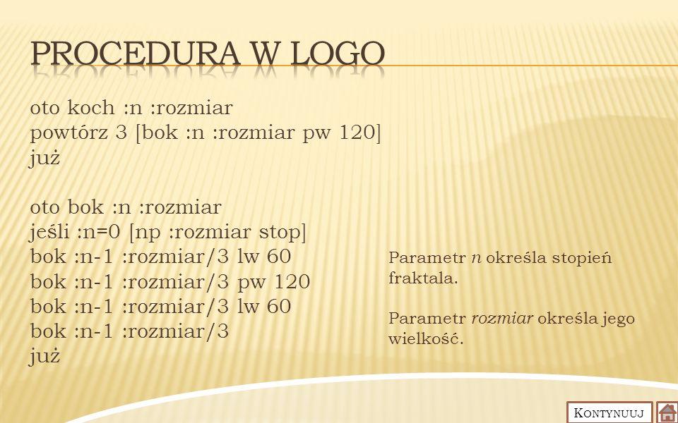 Procedura w Logo oto koch :n :rozmiar