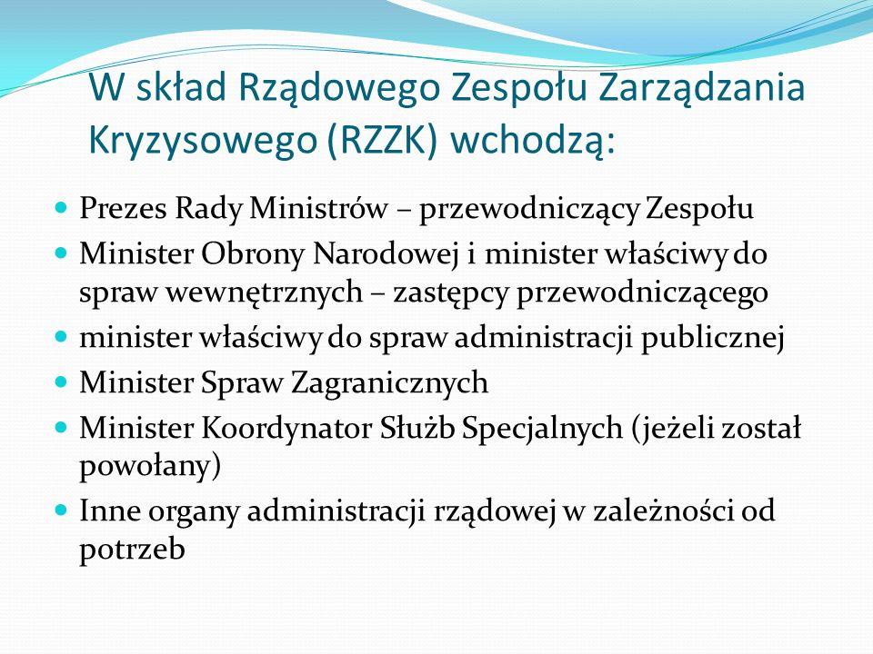 W skład Rządowego Zespołu Zarządzania Kryzysowego (RZZK) wchodzą: