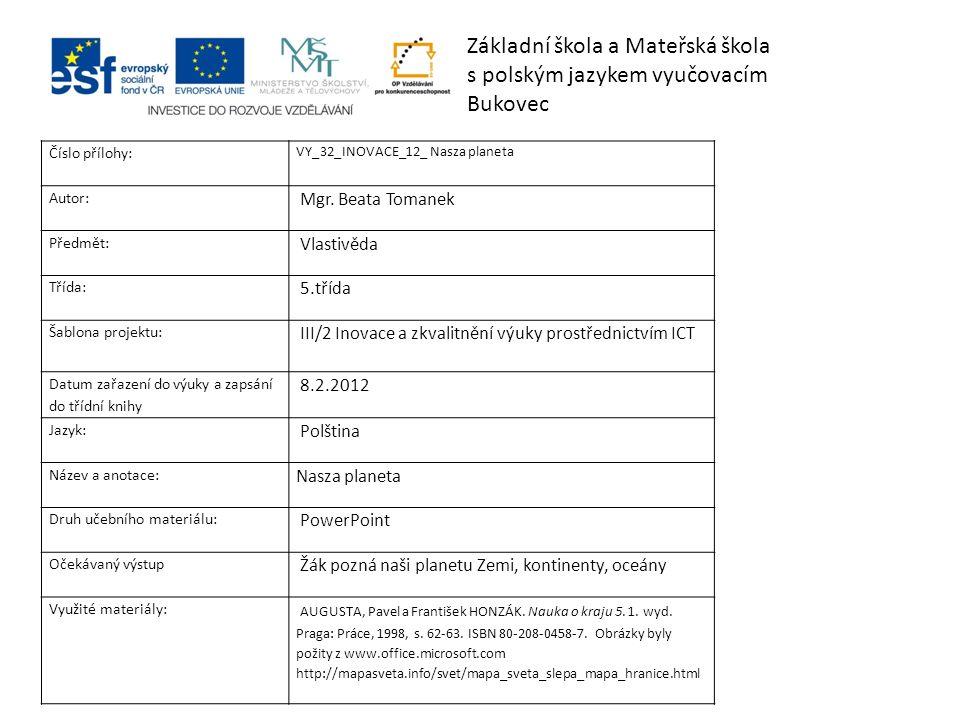 Základní škola a Mateřská škola s polským jazykem vyučovacím Bukovec