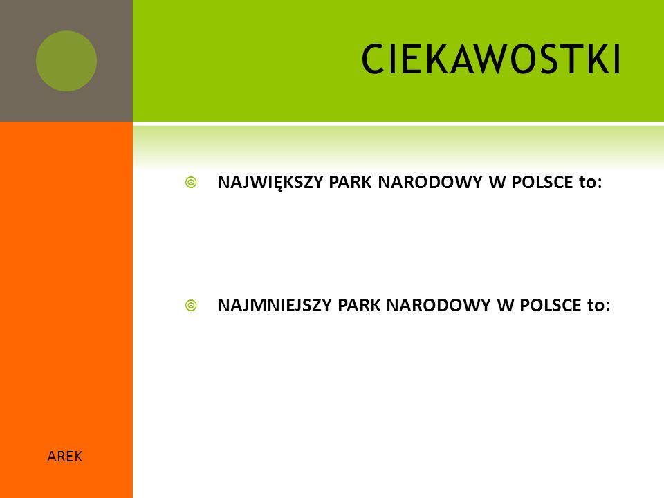 CIEKAWOSTKI NAJWIĘKSZY PARK NARODOWY W POLSCE to: