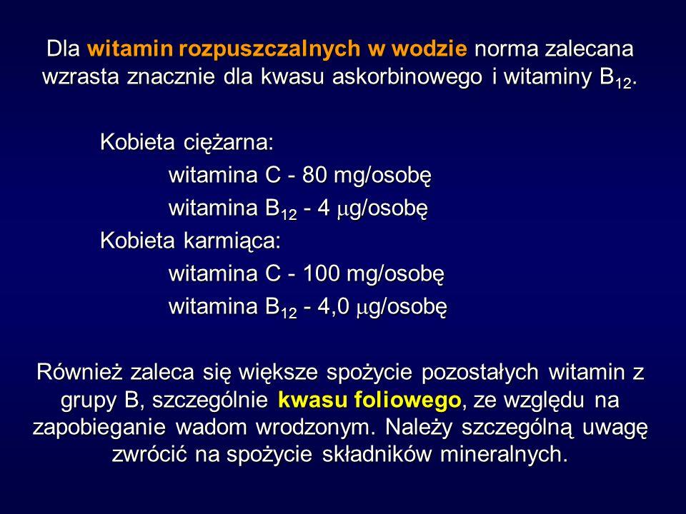 Dla witamin rozpuszczalnych w wodzie norma zalecana wzrasta znacznie dla kwasu askorbinowego i witaminy B12.