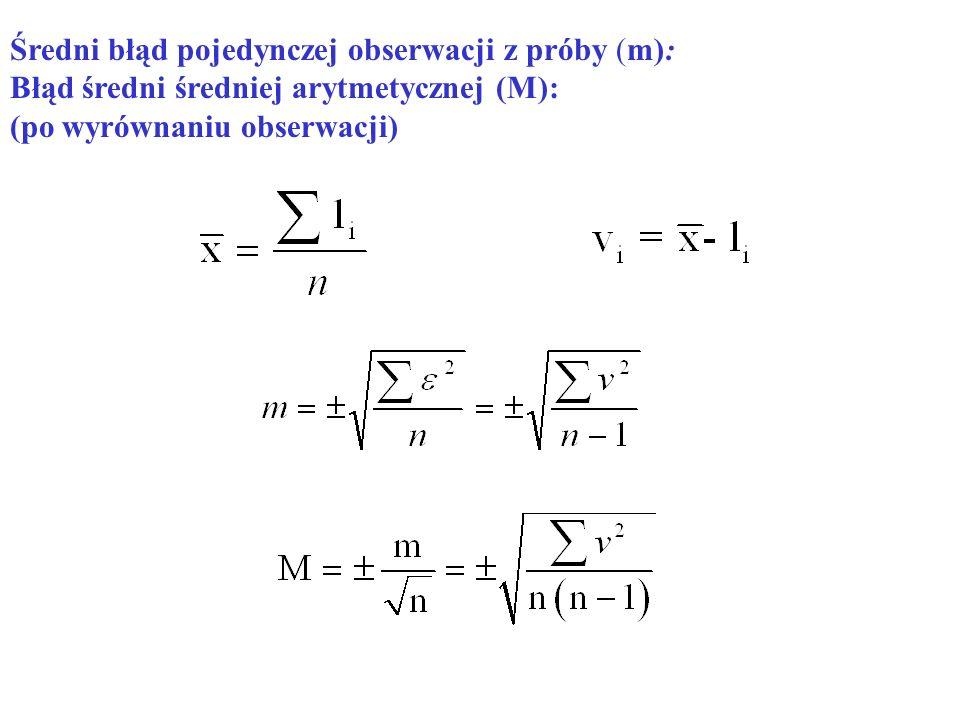 Średni błąd pojedynczej obserwacji z próby (m):