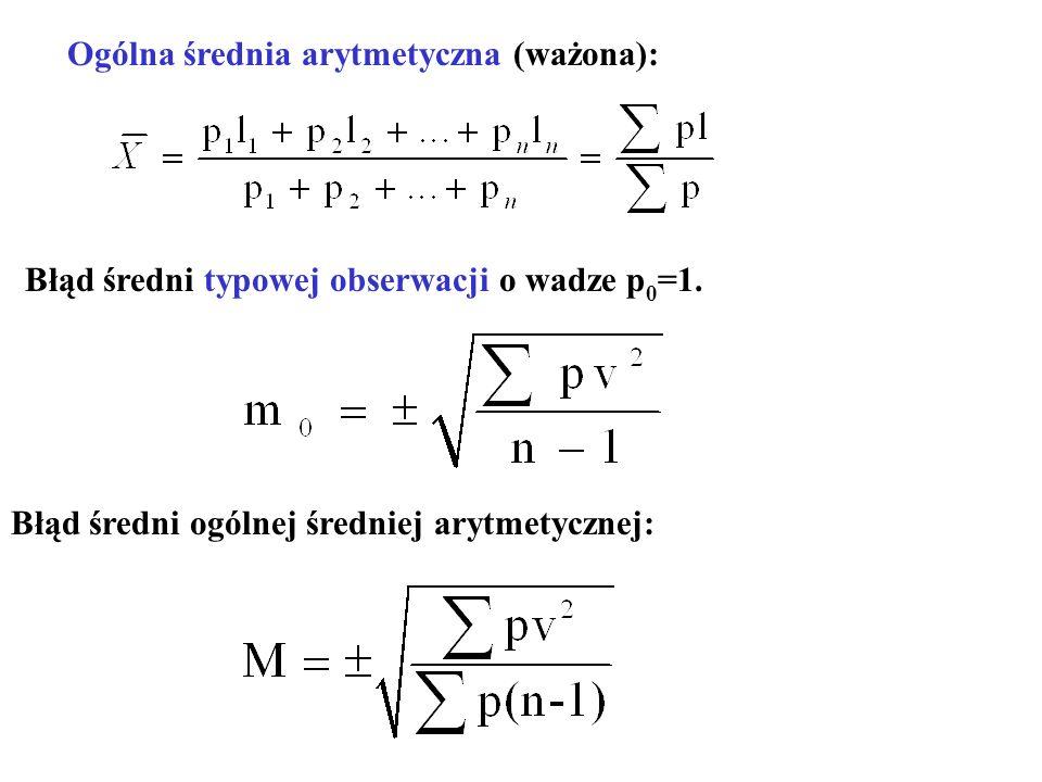 Błąd średni typowej obserwacji o wadze p0=1.